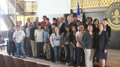 The students and the mayor posing for a picture.